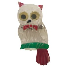 1940s Lucite Acrylic Reverse Carved and Painted Googly Eyed Owl Brooch Pin