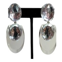 Judith Hendler Acri Gems Clear Icy Acrylic  Fingernail Drop Clip Earrings with Rhinestone Dazzlers