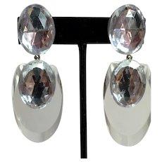Judith Hendler Acri Gems Clear Icy Acrylic  Fingernail Drop Clip Earrings with Rhinestone Dazzlers