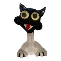 1940s Lucite Acrylic Reverse Carved and Painted FULL BODY  Googly Eyed Cat Brooch Pin