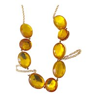 Judith Hendler Acri Gems Brilliant Amber Acrylic Neckring with Brass Chain and Acrylic Triplette Stations Sautoir Necklace