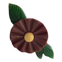 1930s Art Deco  Figural Bakelite Three Color Flower and Leaves Brooch Pin