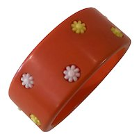 1940s ORANGE  Bakelite Polka Dot Bangle Bracelet with Plastic Flower Dot Inserts