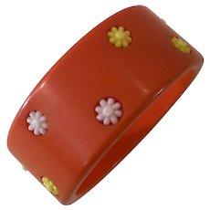 1940s ORANGE  Bakelite Polka Dot Bangle Bracelet with Plastic Flower Dot Inserts