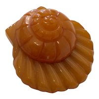 1930s Art Deco  Figural Bakelite Figural Snail on a Shell Undersea Dress Clip