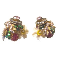 Miriam Haskell Exquisite  Assemblage of Shell Pearl Diamante and Flowers Small Clip Earrings