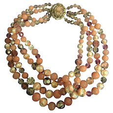 Bijoux Sander 1940s Gripoix Glass and Bead PINK Multistrand Necklace with Elaborate Clasp