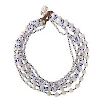 Miriam Haskell Milk Glass White and Blue Bead Multistrand Necklace