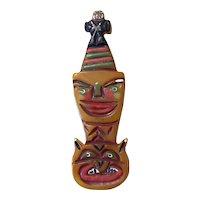 Artisan Bakelite RARE Totem Pole Brooch PIN