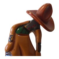 1930s Art Deco  Figural Bakelite Cowboy with Hat and Brass Lariat  Brooch Pin