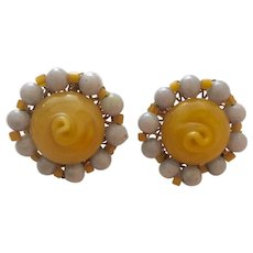 Miriam Haskell Circular Lilac and Honey Intricate Glass Bead Clip Earrings