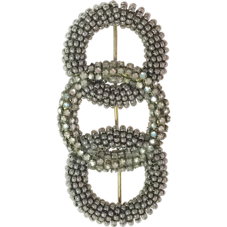 1950s Fine MIRIAM HASKELL Intricate Montee Diamante and Gray Seed Pearl Brooch Pin