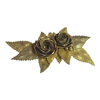 Early Miriam Haskell Antiqued Goldtone Floral Blossom and Leaves Brooch Pin