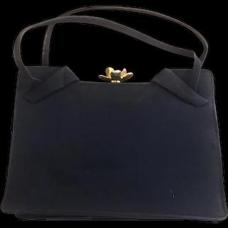 DOFAN French Doe Skin Suede Purse Handbag Gold Floral Jewelled Clasp