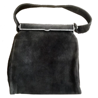 Vintage Argentinian Austrian Antelope Suede Handbag Purse with Marcusite Frame