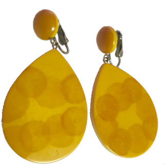 1930s Art Deco  Airbrushed Dots Teardrop Large Drop Clip Earrings