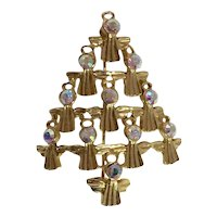 Goldtone Rhinestone Angels Christmas Tree Pin