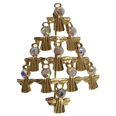 Goldtone Rhinestone Angels Christmas Tree Pin