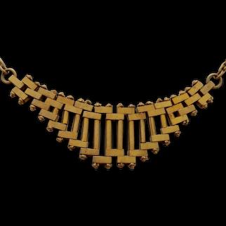 1930s Art Deco Machine Age Jacob Bengel Brass Articulated Necklace