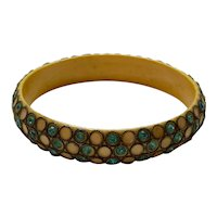 1920s Celluloid Turquoise Rhinestone Sparkle Bangle Bracelet