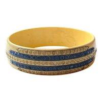 1920s Art Deco Celluloid Sparkle Bracelet Ivory Tone with Cobalt Blue and White Rhinestone Geometric Detail
