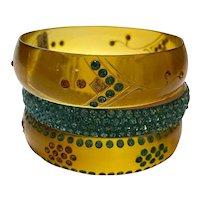(3) THREE 1920s Celluloid Rhinestone Sparkle Bracelets Applejuice Turquoise Amber TRIAD