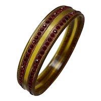 1920s Art DECO Ruby Red Rhinestone Apple Juice Celluloid Sparkle  Bangle Bracelet