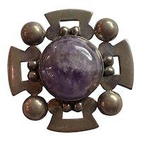 Mexican Sterling Silver Amethyst Stylized Cross Form Brooch Pin