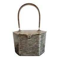 1950s Hardbody Acetate Plastic Purse  RIALTO in Gray Burled Tone with Rhinestone Embellishment and Handle