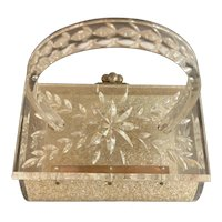 1950s CHARLES KAHN Confetti Lucite Hard Body Plastic Purse Handbag Carved Lucite Detail with Handle