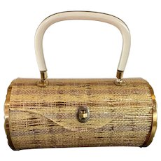 1950s MAJESTIC Laminated Lace Acetate Brass Sided Cylinder Hard Body Plastic Purse Handbag with Lucite Handle