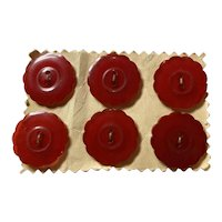 1930s Bakelite RED 2-hole Sew On Buttons Set of Six (6)