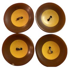 1930s Bakelite Laminated Geometric Saucer Brown and Cream 2-hole Sew On Buttons Set of Four (4)