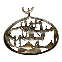 1970s Modernist Brutalist Sterling Silver Pendant Necklace ICELAND Signed JENS