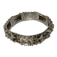 Silver Ethnographic Tooled and Figured Link Bracelet with Bezel Set Amethyst Stonework