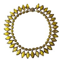 1950s Miriam Haskell Translucent Yellow Amber and Goldtone Multi Bead Necklace SIGNED