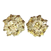1950s Miriam Haskell Faceted Crystal Bead Clip Earrings SIGNED