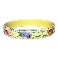 1920s Art DECO Multicolor and White Rhinestone Sparkle Cream Celluloid Bangle Bracelet
