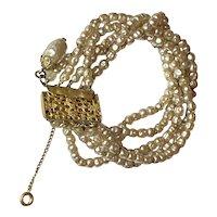 1950s  Miriam Haskell  Multi-strand Seed Baroque Tiny Pearls Bracelet