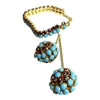 1950s Hattie Carnegie Faux Turquoise and Ruby Flexible Link Bracelet Huge Double Ball Drop