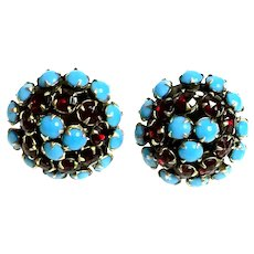 1950s Hattie Carnegie Faux Turquoise and Ruby Domed Circular Clip Earrings