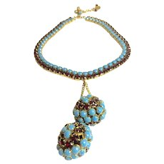 1950s Hattie Carnegie Faux Turquoise and Ruby Flexible Link Necklace Huge Double Ball Drop
