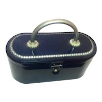 1950s Sapphire Blue Acetate with Elaborate Rhinestone Detail Hard Body Plastic Purse Handbag