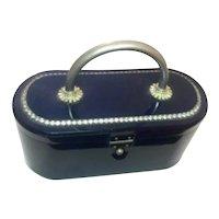1950s Sapphire Blue Acetate with Elaborate Rhinestone Detail Hard Body Plastic Purse Handbag