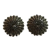 1960s William DeLillo Seed Bead Hematite Domed Circular Clip Earrings