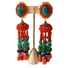 21st Century Lawrence VRBA HUGE Coral Turquoise Seed Bead Long Drop Clip Earrings