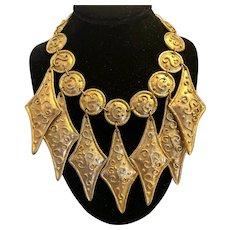 1990s Edouard Rambaud PARIS Historicist Medieval Style Goldtone Statement Necklace