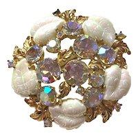 1950s Schiaparelli Exotic Aurora Borealis Milk Glass Molded Leaves Gold Tone Brooch Pin