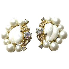 1950s Schiaparelli Exotic Aurora Borealis Milk Glass Molded Leaves Gold Tone Clip Earrings