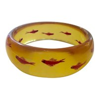 1930s Art Deco Apple Juice Reverse Carved and Painted Bakelite FISH Bangle Bracelet